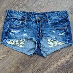 5/$45 Gold Sparkly Cheetah Print Jean Shorts